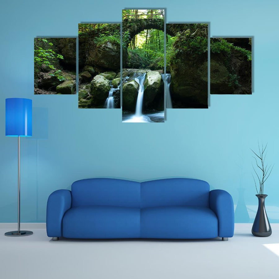 View Of Old Bridge And Waterfall Multi Panel Canvas Wall Art 1 Piece / Medium / Canvas Tiaracle