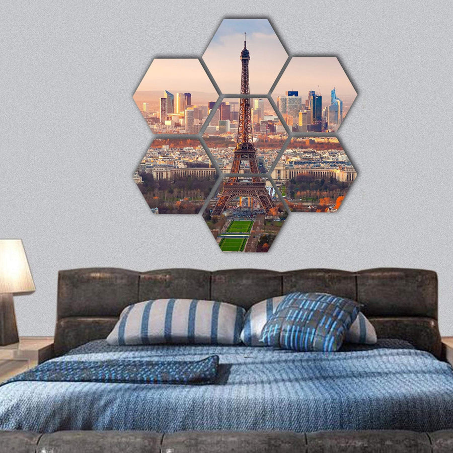 View Of Paris And Eiffel Tower At Sunset Hexagonal Canvas Wall Art 1 Hexa / Small / Gallery Wrap Tiaracle