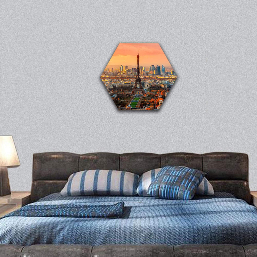 View Of Paris At Twilight Hexagonal Canvas Wall Art 7 Hexa / Small / Gallery Wrap Tiaracle