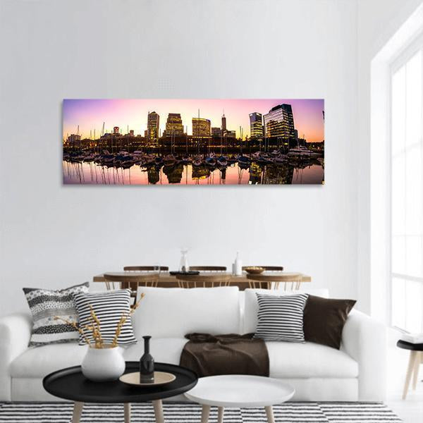 View Of Puerto Madero Cityscape Panoramic Canvas Wall Art Tiaracle