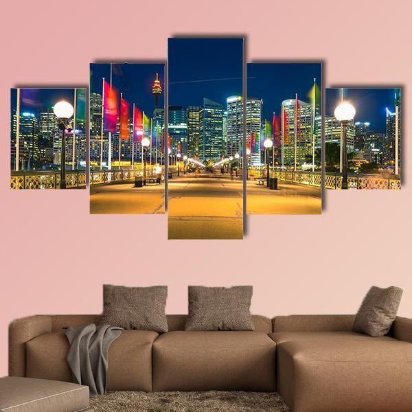 View Of Pyrmont Bay In Darling Harbour Multi Panel Canvas Wall Art 3 Pieces / Small / Canvas Tiaracle