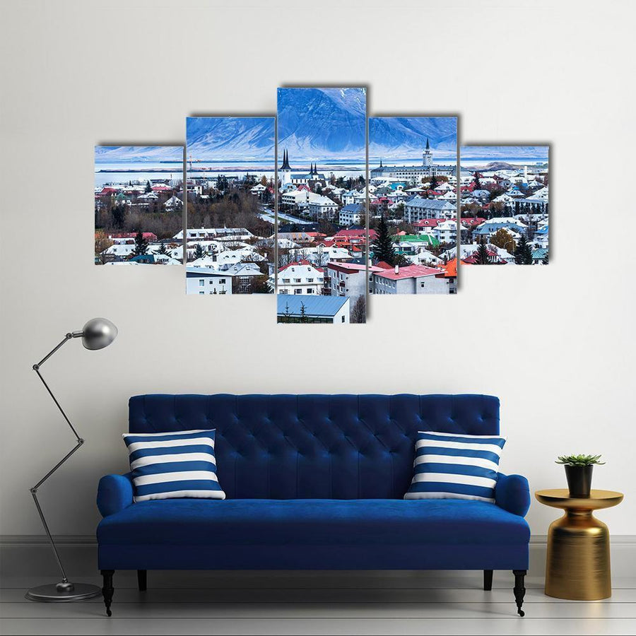 Aerial View Of Reykjavik City InIceland Multi Panel Canvas Wall Art 1 Piece / Medium / Canvas Tiaracle