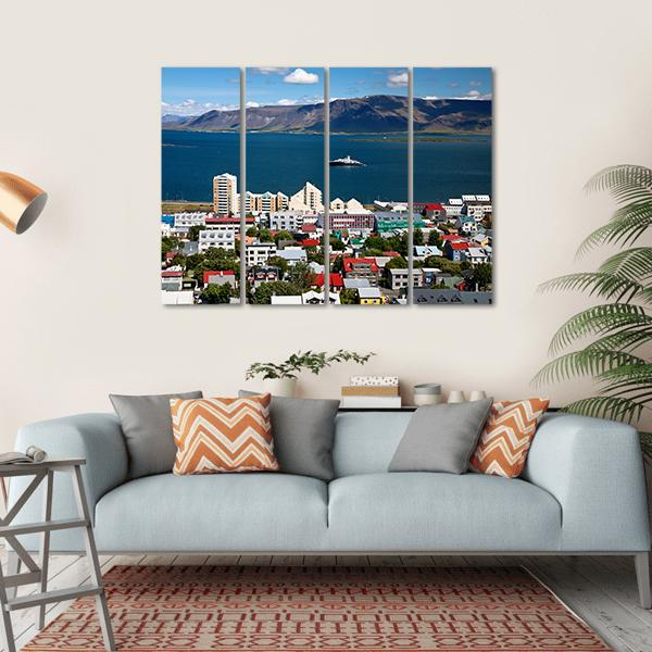 View Of Reykjavik City Multi Panel Canvas Wall Art-1 Piece-Small-Gallery Wrap-Tiaracle