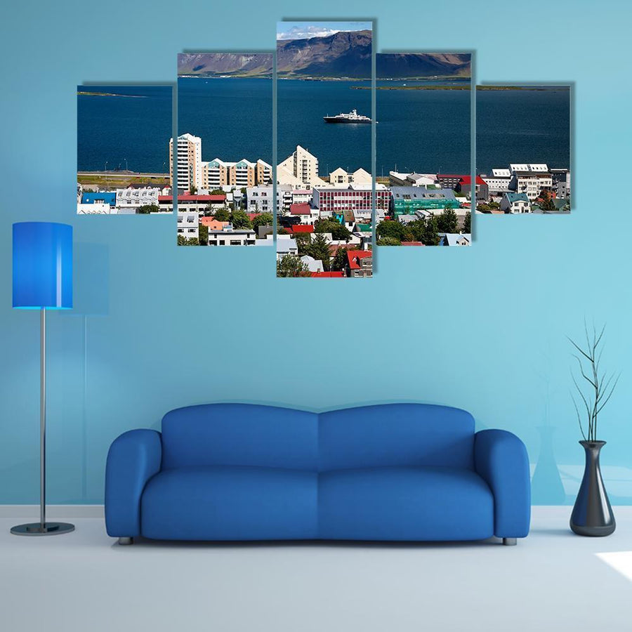 View Of Reykjavik City Multi Panel Canvas Wall Art 3 Pieces / Medium / Canvas Tiaracle