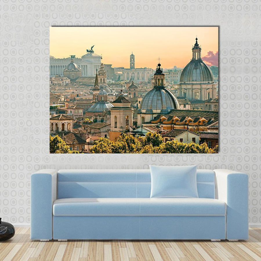 View Of Rome From Castel Sant'Angelo, Italy Multi Panel Canvas Wall Art 5 Horizontal / Small / Gallery Wrap Tiaracle