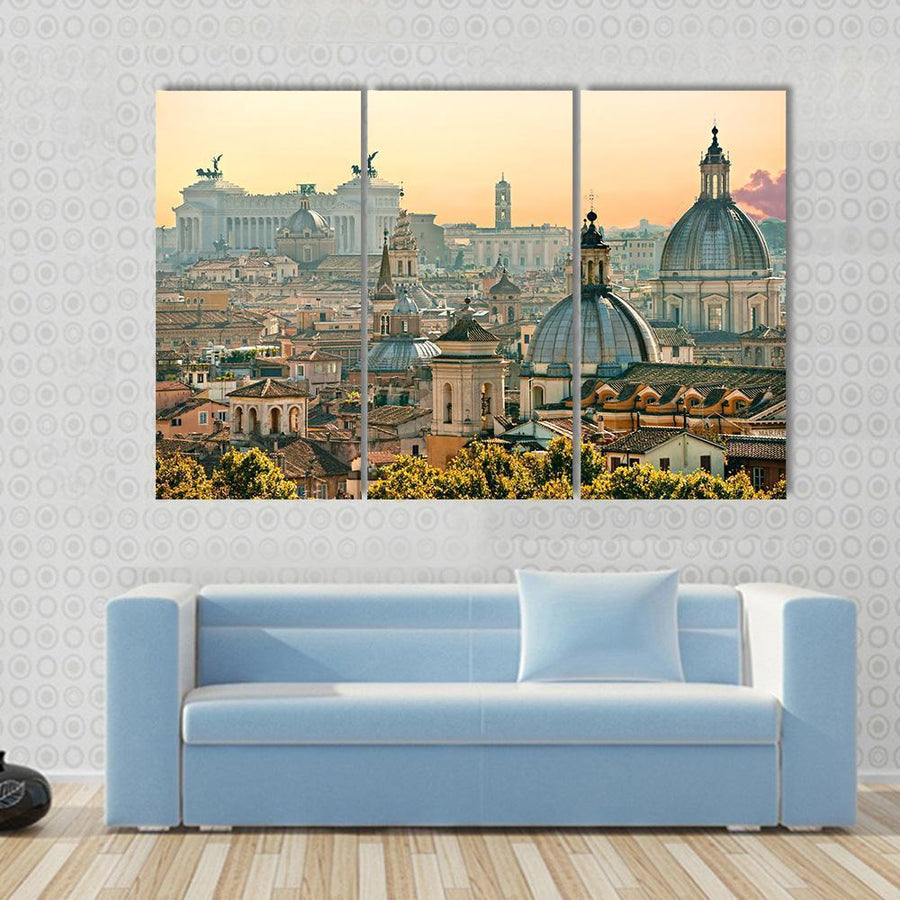 View Of Rome From Castel Sant'Angelo, Italy Multi Panel Canvas Wall Art 3 Pieces / Small / Gallery Wrap Tiaracle