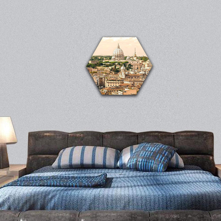 View Of San Peter Basilica In Rome, Italy Hexagonal Canvas Wall Art 7 Hexa / Small / Gallery Wrap Tiaracle