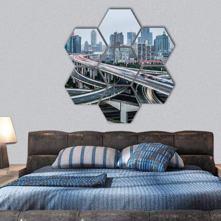 View Of Shanghai Viaduct Night Hexagonal Canvas Wall Art 1 Hexa / Small / Gallery Wrap Tiaracle