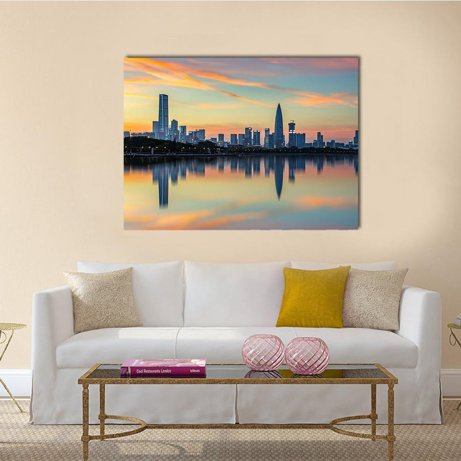 View Of Shenzhen Bay Houhai Multi Panel Canvas Wall Art 5 Pieces(B) / Medium / Canvas Tiaracle