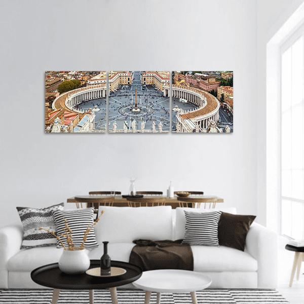 View Of St Peter Square In Rome Panoramic Canvas Wall Art