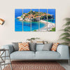 View Of Sveti Stefan Island Multi Panel Canvas Wall Art-5 Horizontal-Small-Gallery Wrap-Tiaracle
