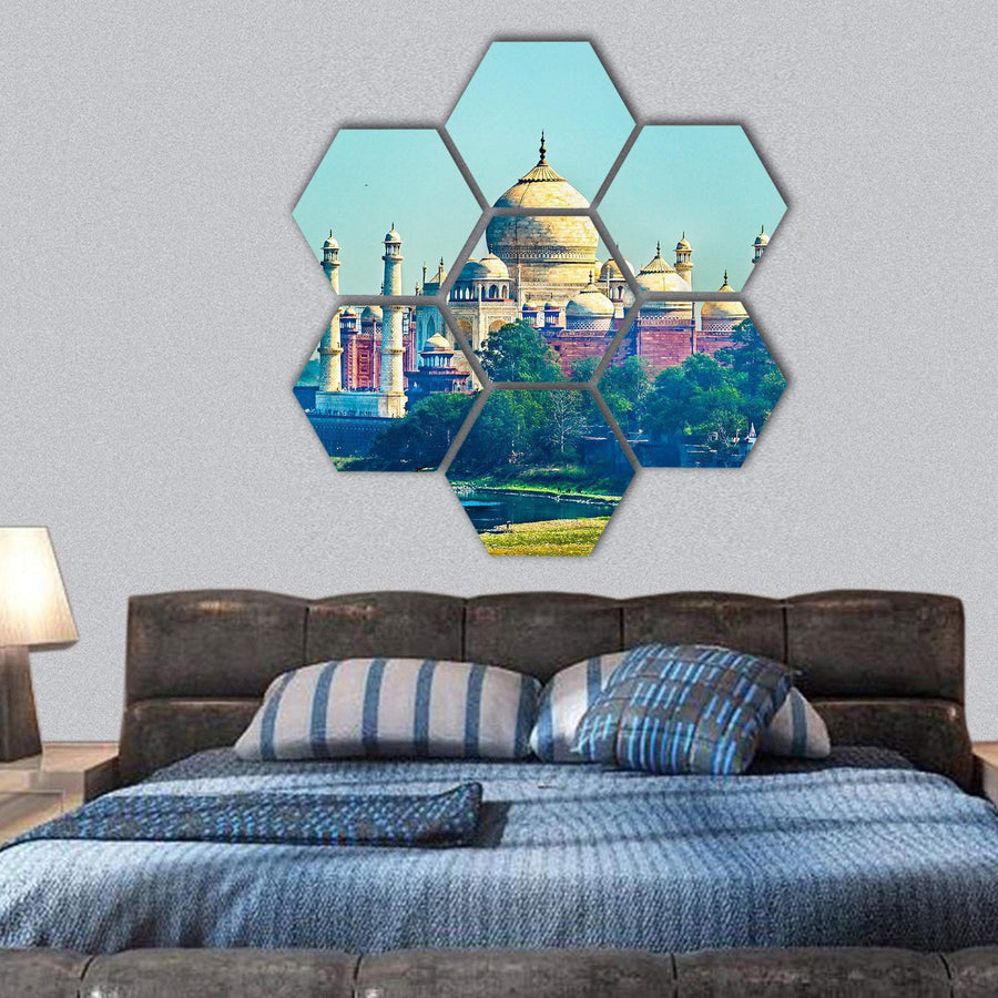 View Of Taj Mahal From Agra Fort Hexagonal Canvas Wall Art 1 Hexa / Small / Gallery Wrap Tiaracle