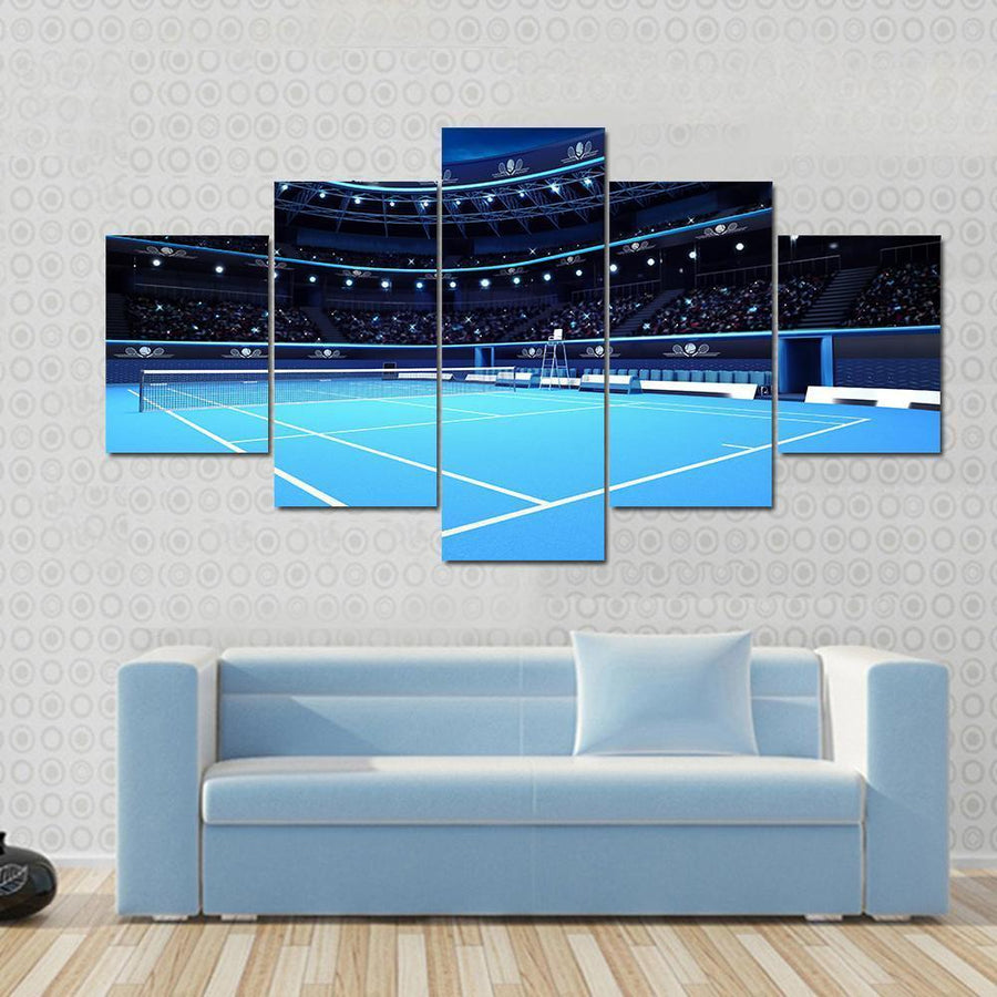 View Of Tennis Court With Stadium Multi Panel Canvas Wall Art 3 Pieces / Small / Gallery Wrap Tiaracle
