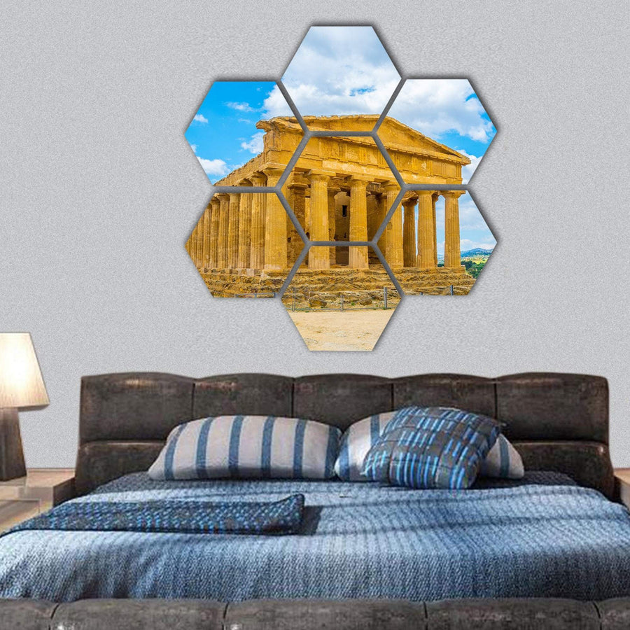 View Of The Concordia Temple Hexagonal Canvas Wall Art 1 Hexa / Small / Gallery Wrap Tiaracle