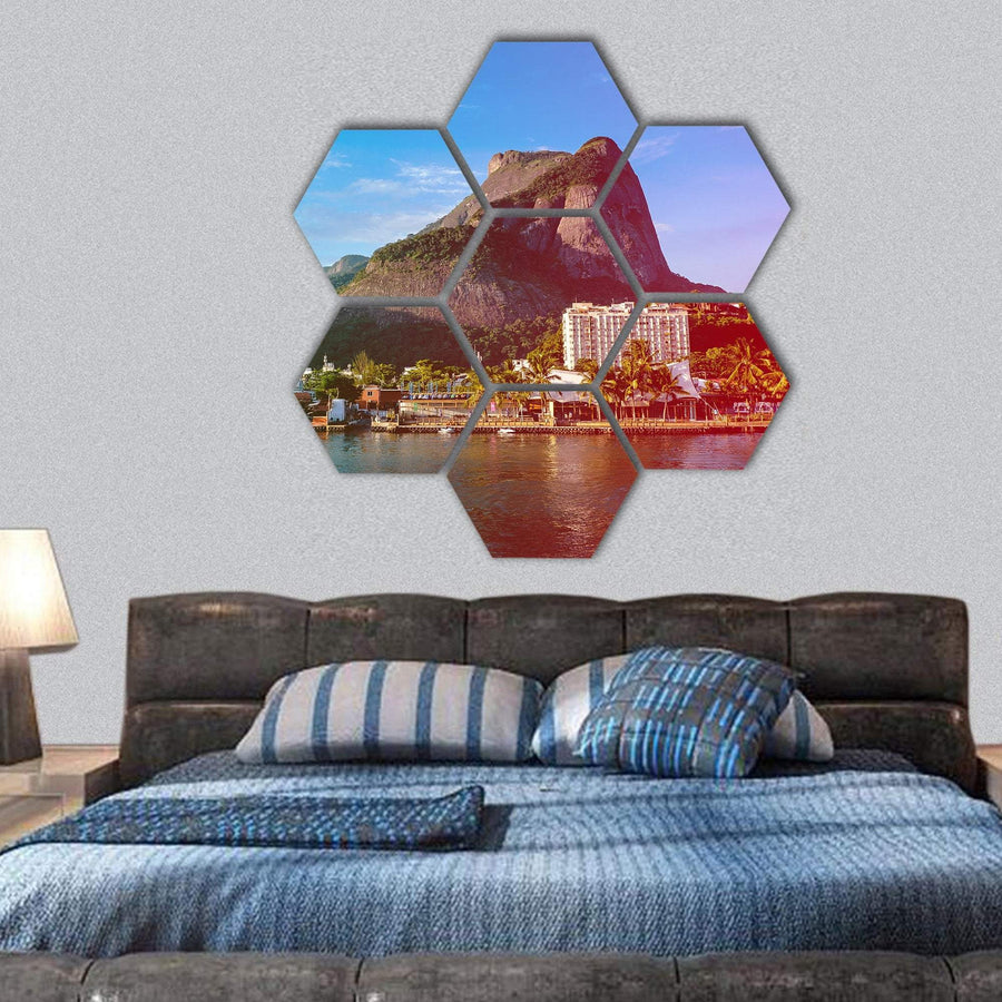 View Of The Gavea Stone Hexagonal Canvas Wall Art 1 Hexa / Small / Gallery Wrap Tiaracle