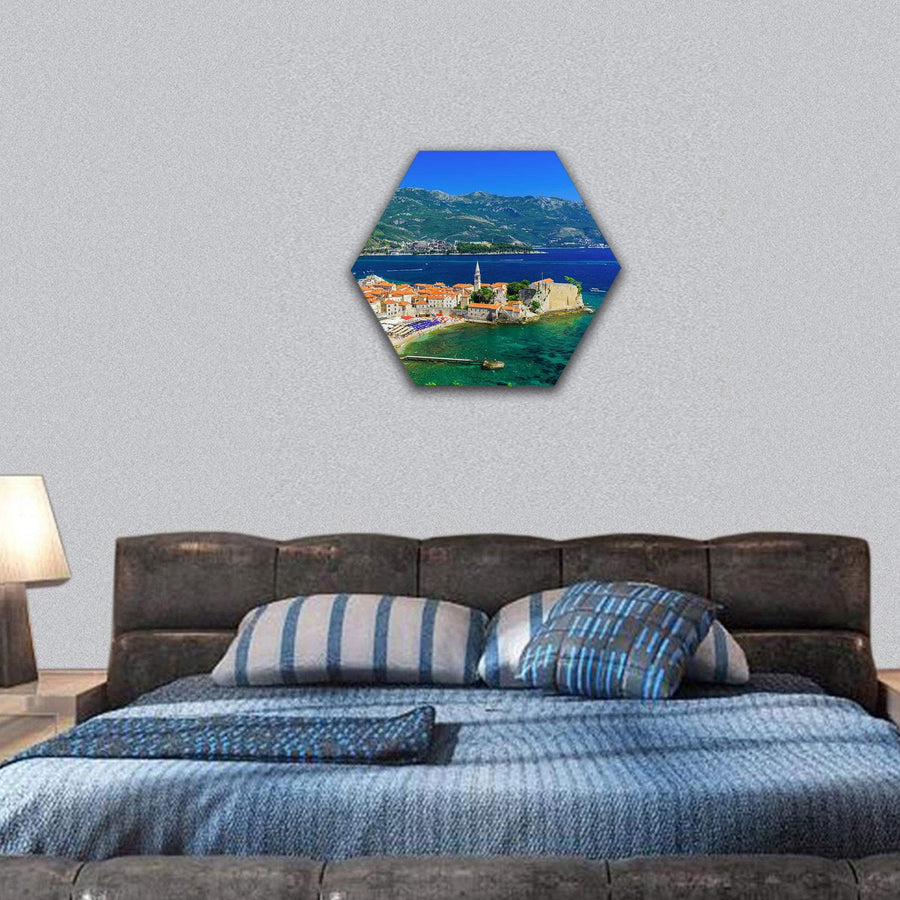 View Of The Old Town Budva In Montenegro Hexagonal Canvas Wall Art 7 Hexa / Small / Gallery Wrap Tiaracle