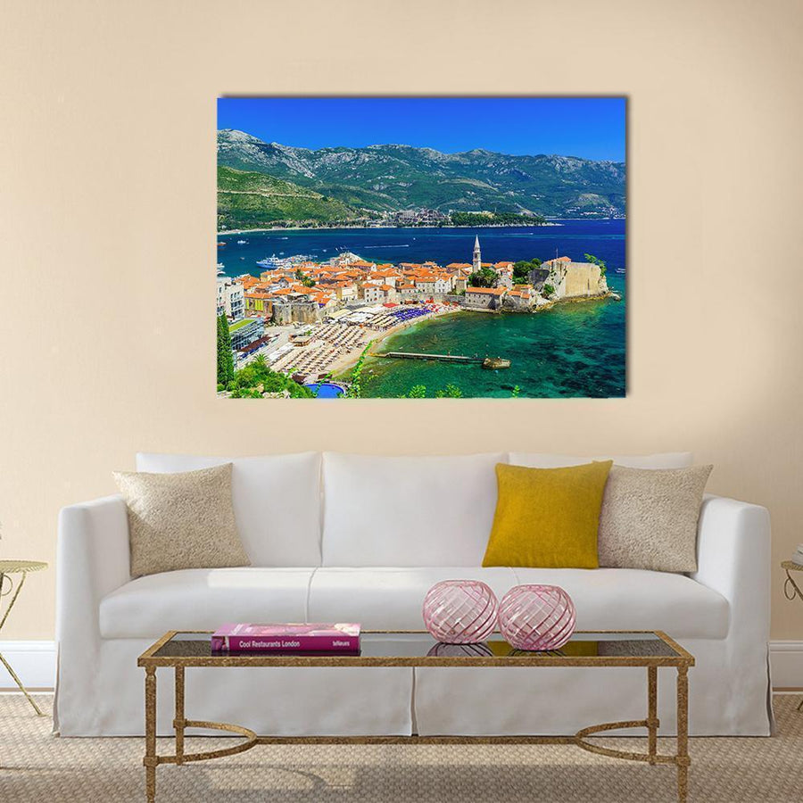 View Of The Old Town Budva In Montenegro Multi Panel Canvas Wall Art 4 Horizontal / Small / Gallery Wrap Tiaracle