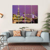 View of Tower Bridge In The Evening, London Canvas Wall Art-4 Horizontal-Small-Gallery Wrap-Tiaracle