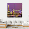 View of Tower Bridge In The Evening, London Canvas Wall Art-4 Square-Small-Gallery Wrap-Tiaracle