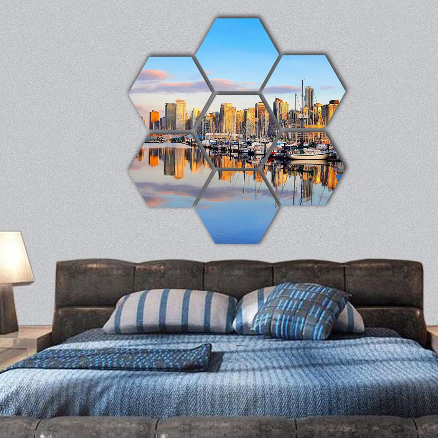 View Of Vancouver Skyline Hexagonal Canvas Wall Art 1 Hexa / Small / Gallery Wrap Tiaracle
