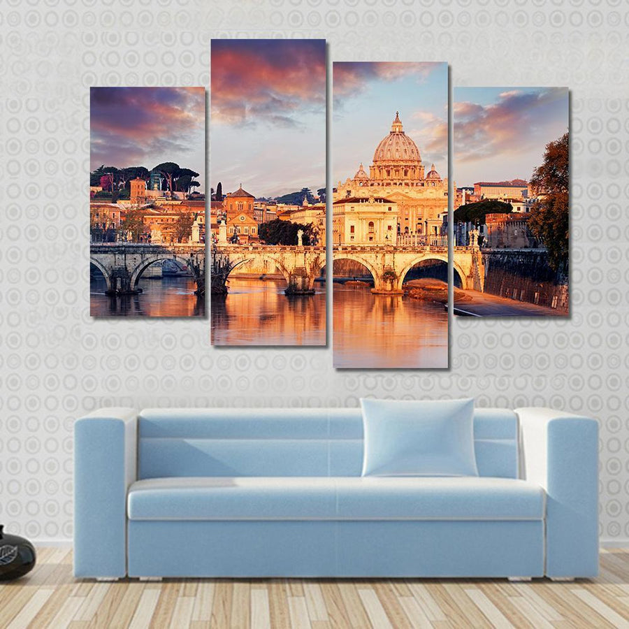 View Of Vatican City With St Peter Multi Panel Canvas Wall Art 3 Pieces / Small / Gallery Wrap Tiaracle