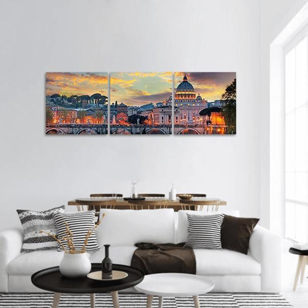 View Of Vatican Panoramic Canvas Wall Art 1 Piece / Small Tiaracle