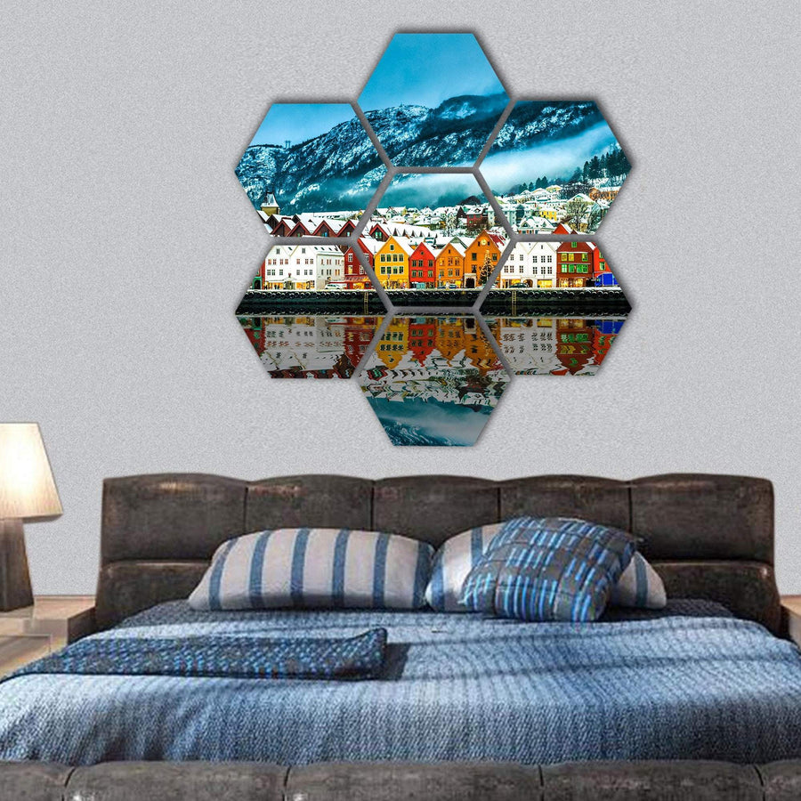 View On Bruges In Norway Hexagonal Canvas Wall Art 1 Hexa / Small / Gallery Wrap Tiaracle