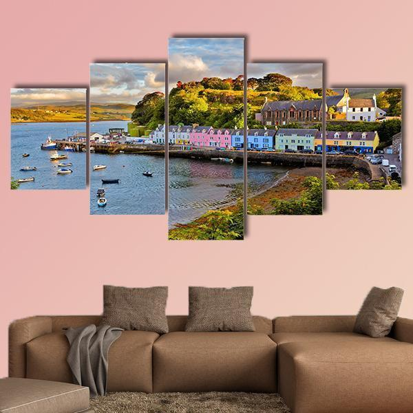 View On Portree Before Sunset Multi Panel Canvas Wall Art 4 Pieces / Medium / Canvas Tiaracle