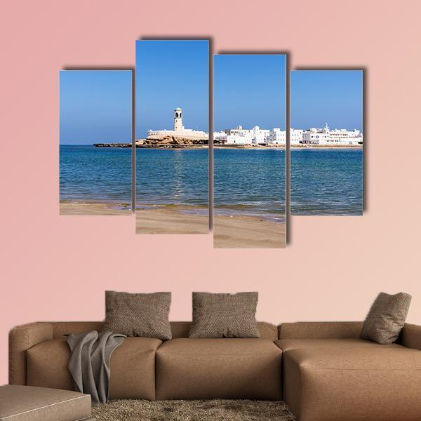 View On Sur Lighthouse In Oman Multi Panel Canvas Wall Art 3 Pieces / Small / Canvas Tiaracle