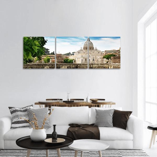 View On Tiber And St Peter Basilica In Vatican Panoramic Canvas Wall Art Tiaracle