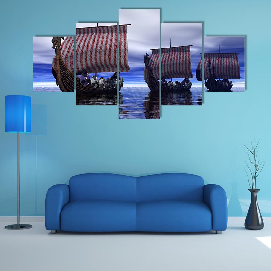 Viking Ships Multi Panel Canvas Wall Art 5 Pieces(A) / Medium / Canvas Tiaracle