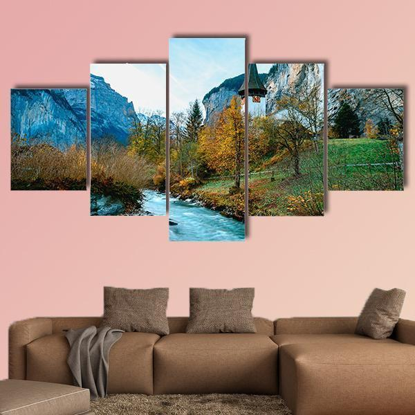 Village Of Lauterbrunnen In Swiss Alps Multi Panel Canvas Wall Art 3 Pieces / Medium / Canvas Tiaracle