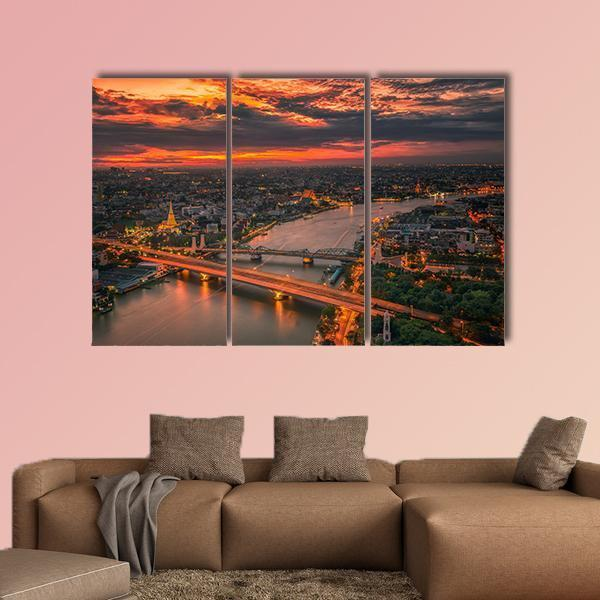 Vintage Bridge With Sunset Sky Multi Panel Canvas Wall Art 4 Pieces / Medium / Gallery Wrap Tiaracle