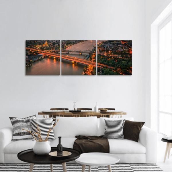 Vintage Bridge With Sunset Sky Panoramic Canvas Wall Art 1 Piece / Small Tiaracle