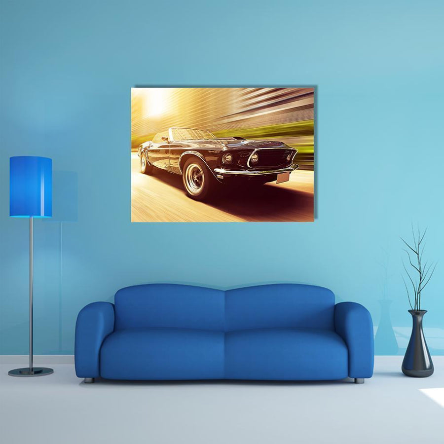 Vintage Car In Blur Motion Multi Panel Canvas Wall Art-4 Horizontal-Small-Gallery Wrap-Tiaracle