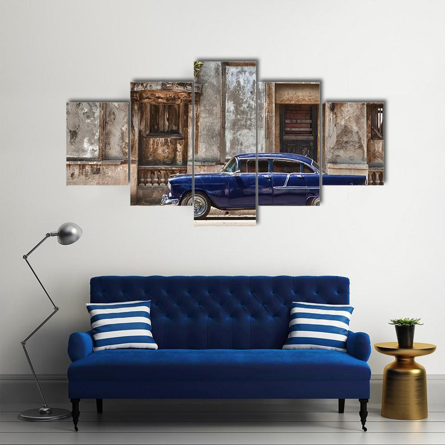 Vintage Car In Havana Canvas Panel Painting Tiaracle