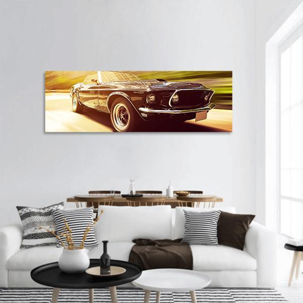 Vintage Car Panoramic Canvas Wall Art Tiaracle