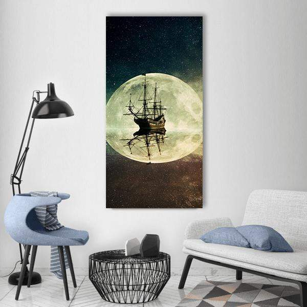 Vintage Old Ship Vertical Canvas Wall Art 3 Vertical / Small / Gallery Wrap Tiaracle