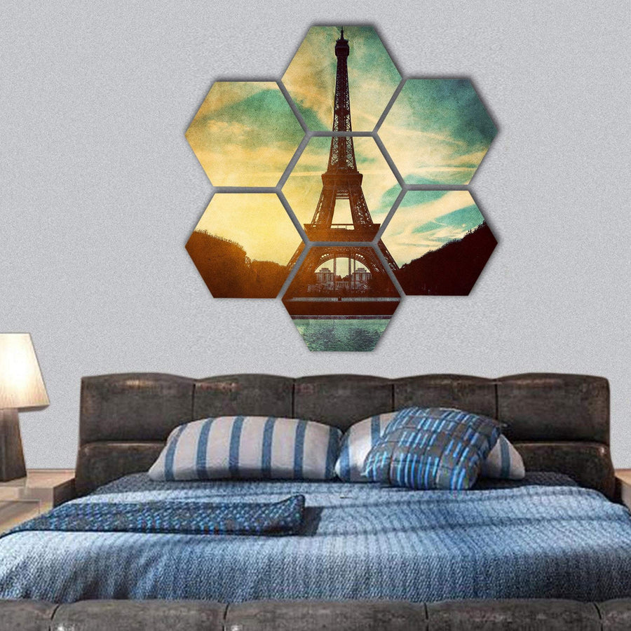 Vintage Retro Style Of Eiffel Tower Hexagonal Canvas Wall Art 1 Hexa / Small / Gallery Wrap Tiaracle