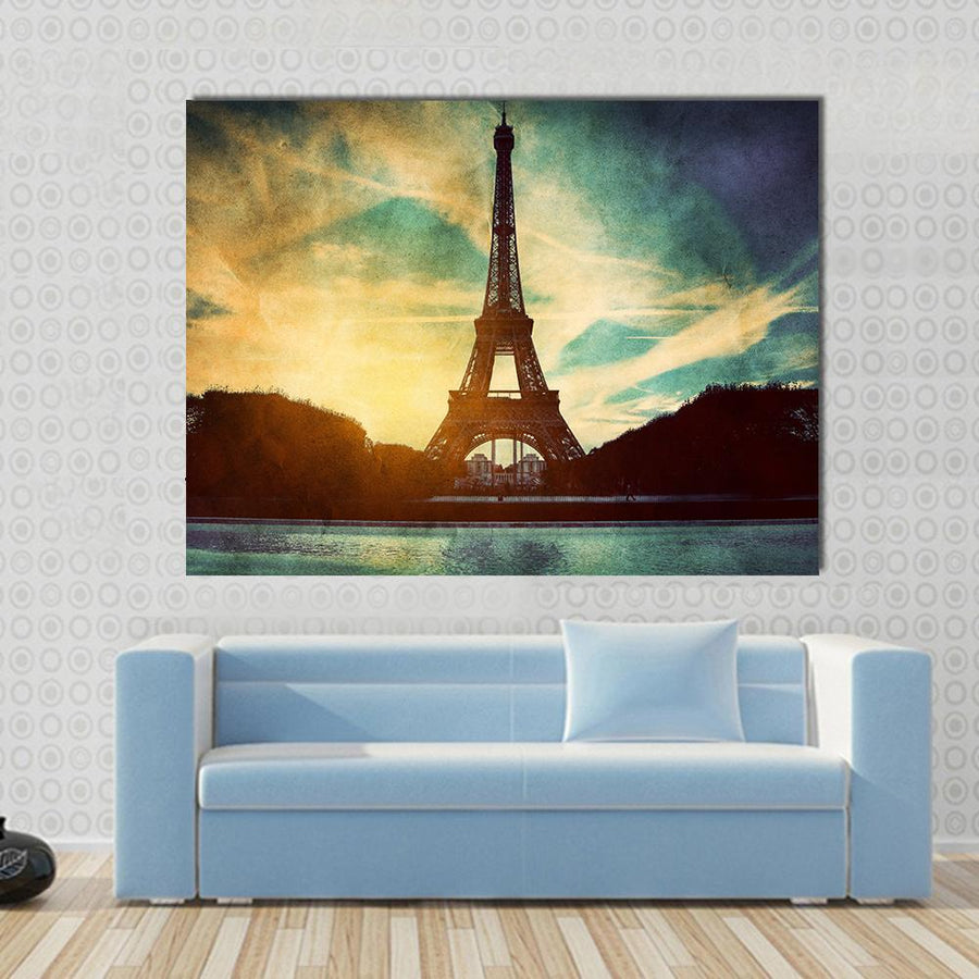 Vintage Retro Style Of Eiffel Tower, Paris France Multi Panel Canvas Wall Art-4 Horizontal-Small-Gallery Wrap-Tiaracle