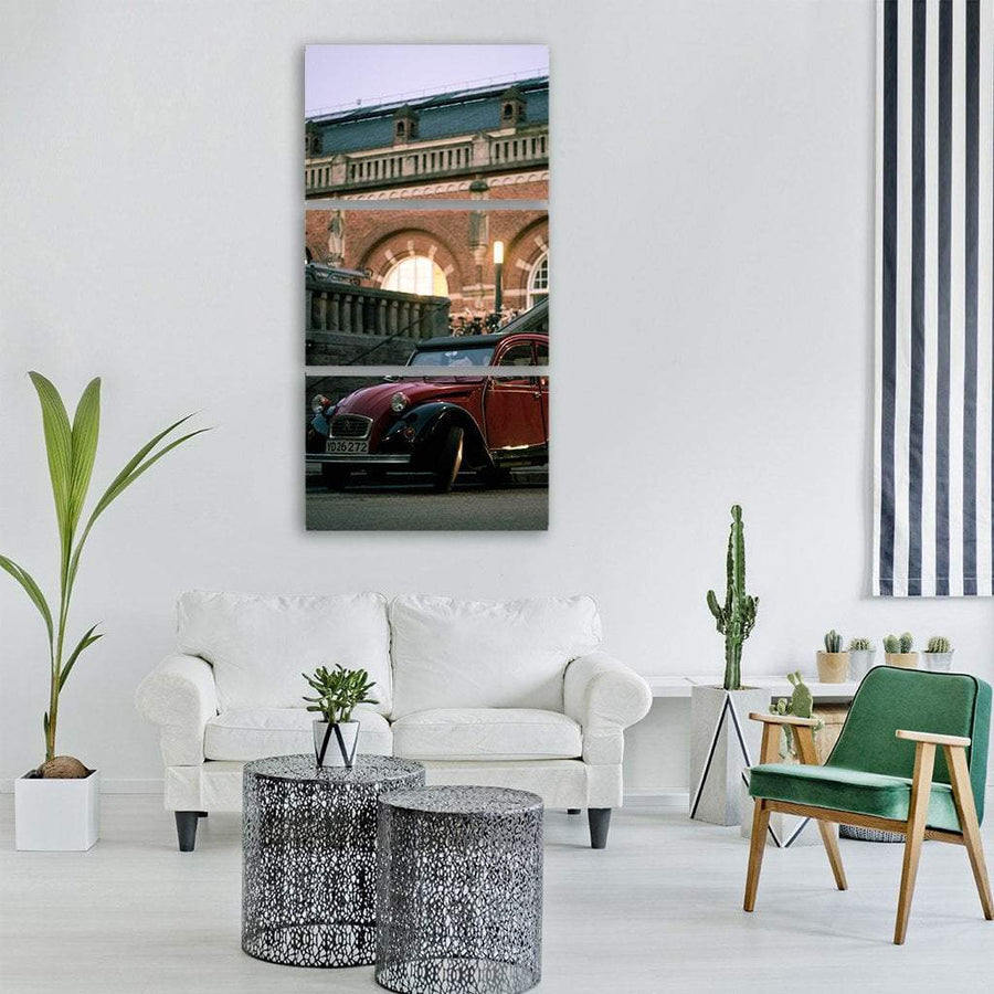 Vintage Style Car In Old Street Vertical Canvas Wall Art 1 Vertical / Small / Gallery Wrap Tiaracle