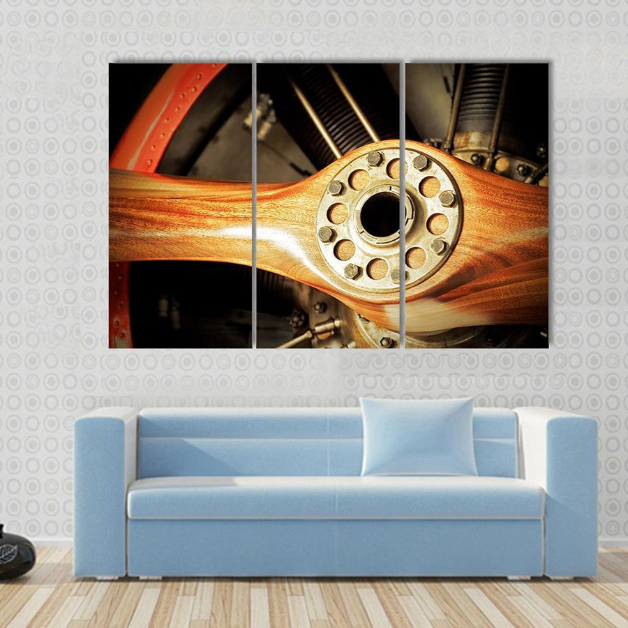 Vintage Wooden Aircraft Propeller And Engine Cylinders Multi Panel Canvas Wall Art 3 Pieces / Small / Gallery Wrap Tiaracle