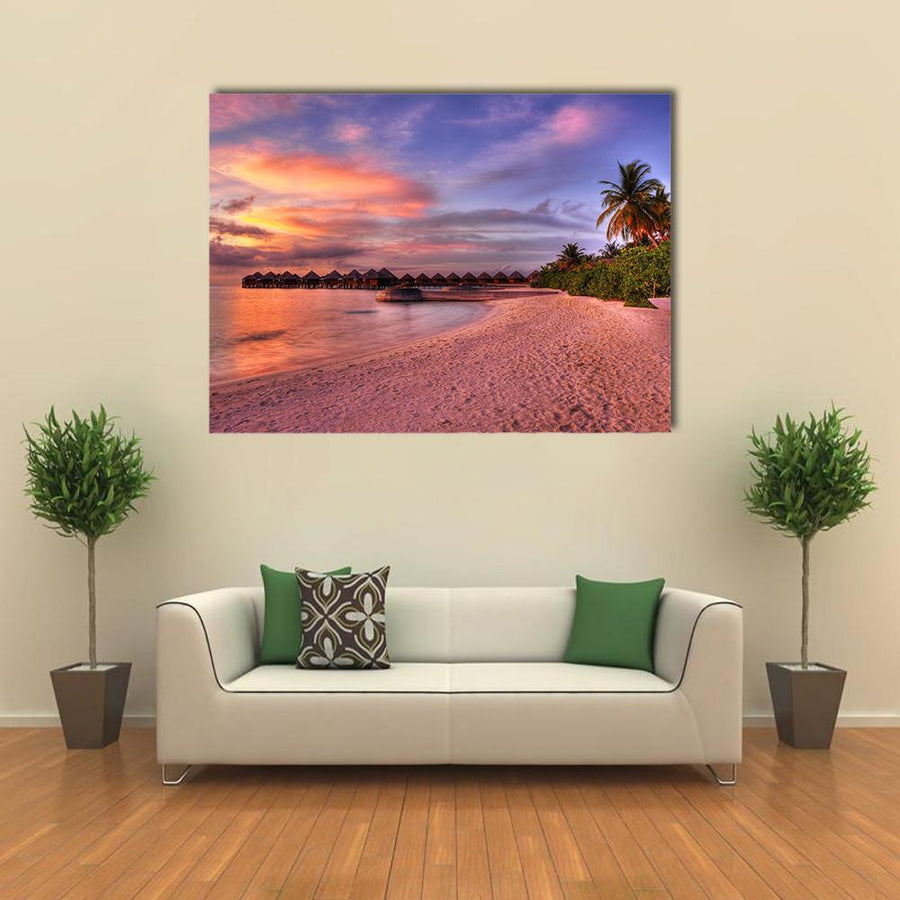 Vivid Sunset Over Beach Multi Panel Canvas Wall Art 4 Horizontal / Small / Gallery Wrap Tiaracle
