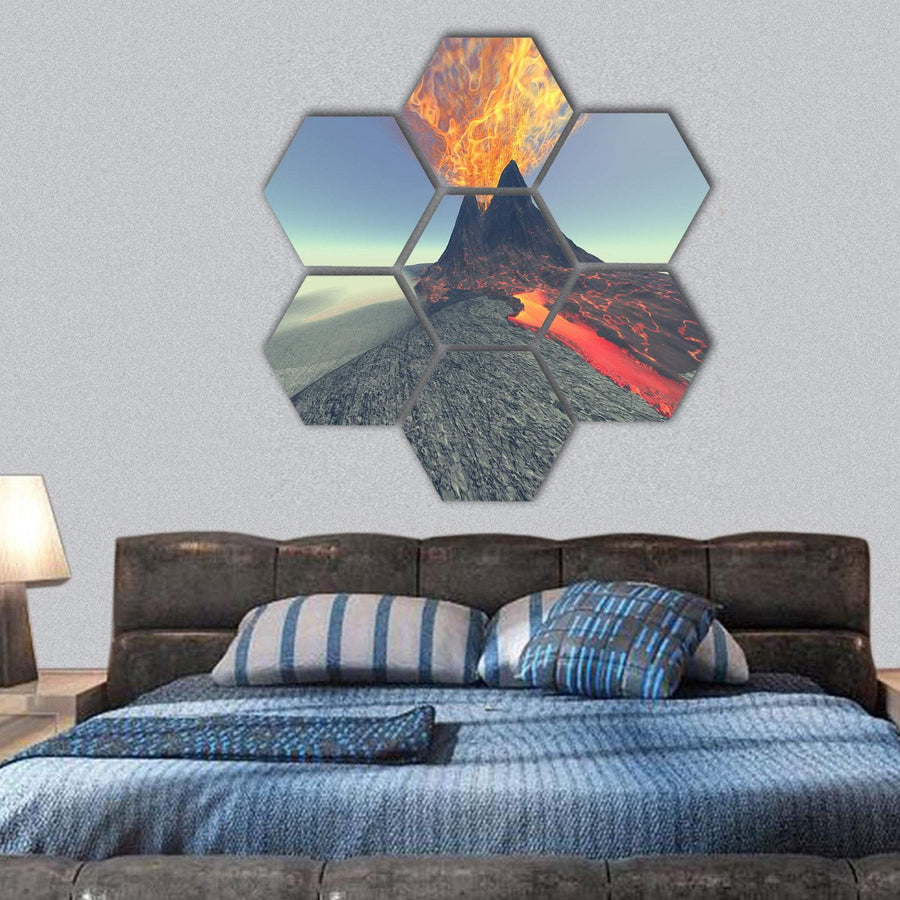 Volcano With Fire, Smoke And Lava Hexagonal Canvas Wall Art 1 Hexa / Small / Gallery Wrap Tiaracle