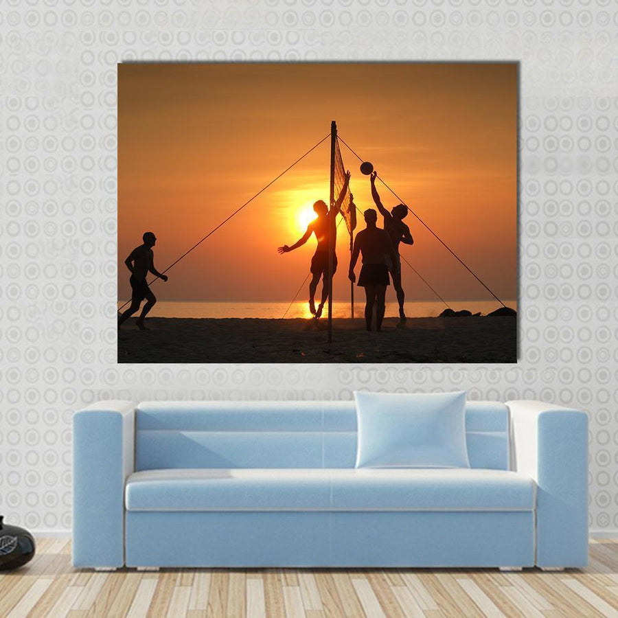Volley Ball Played On The Beach And Playground Sand Canvas Panel Painting Tiaracle