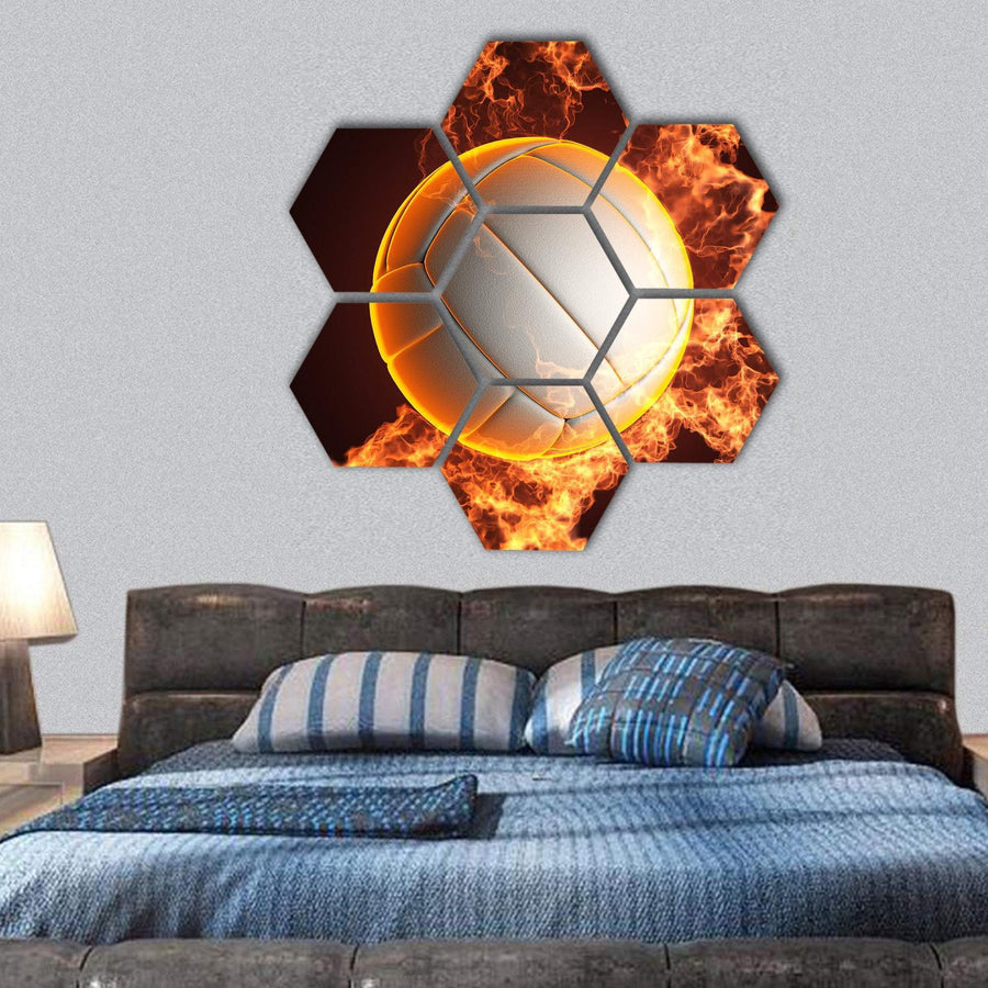 Volleyball Ball In Fire Hexagonal Canvas Wall Art 1 Hexa / Small / Gallery Wrap Tiaracle