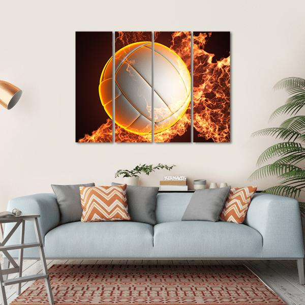 Volleyball Ball In Fire Multi Panel Canvas Wall Art 1 Piece / Small / Gallery Wrap Tiaracle