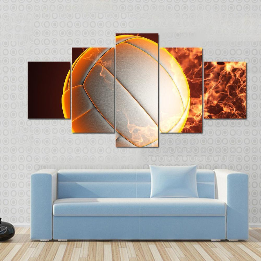 Volleyball Ball In Fire Canvas Panel Painting Tiaracle