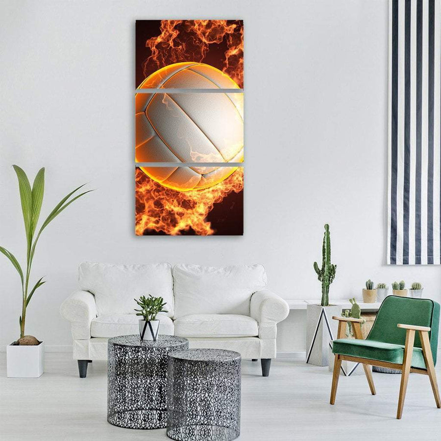 Volleyball ball in fire Vertical Canvas Wall Art 1 Vertical / Small / Gallery Wrap Tiaracle