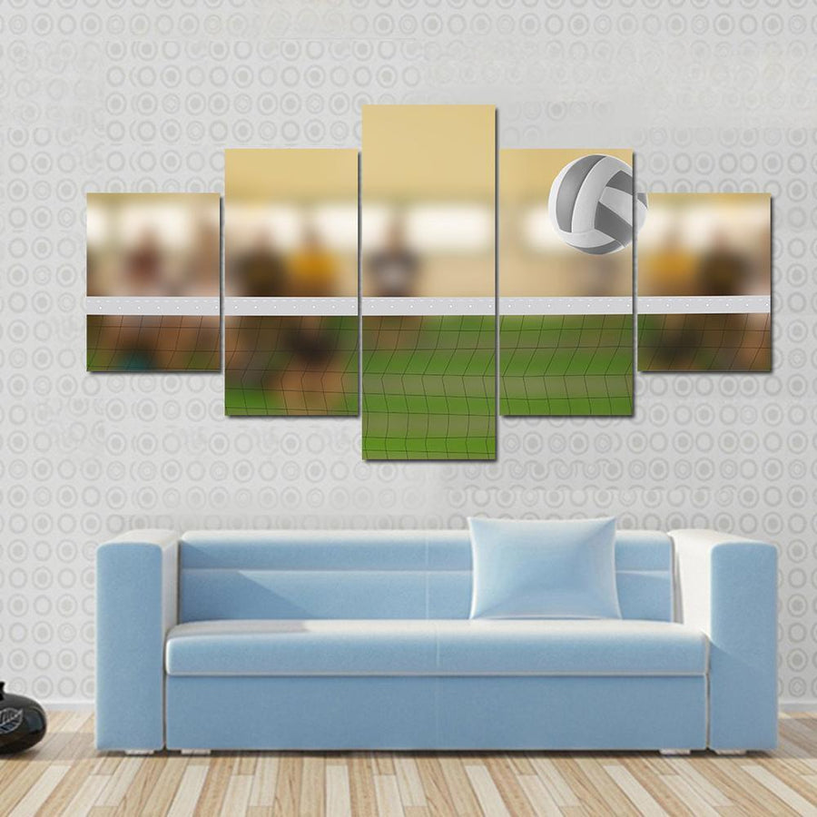 Volleyball Court With Volleyball Ball Canvas Panel Painting Tiaracle